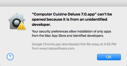 Computer Cuisine Can't Launch from Unidentified Developer