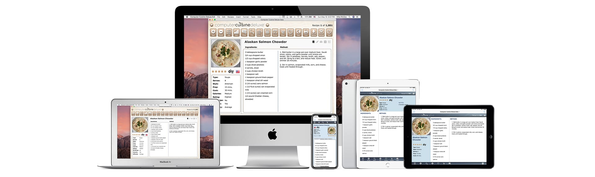 computer cuisine laptop mac recipe software version 9 all devices macOS iOS iPad iPhone Mac iMac Laptop MacBook Pro iPhone X